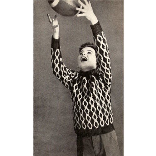 Boys Knitting Pattern Chain Motif Sweater