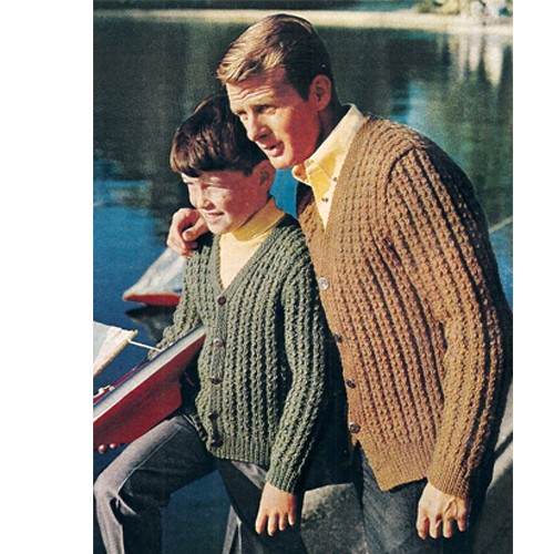 Ribbed Cardigan Knitting Pattern Men & Boys