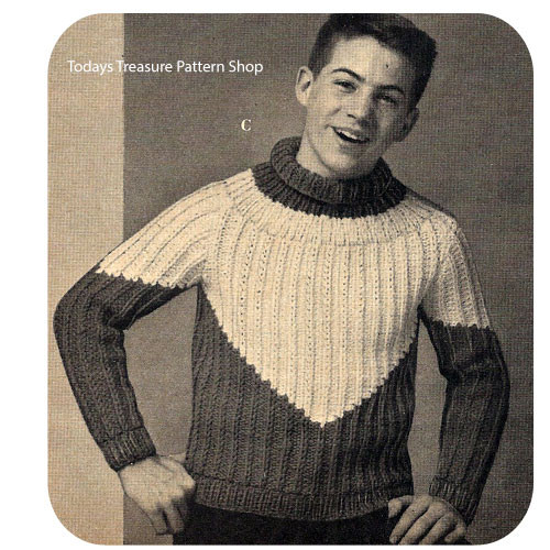Knitting Pattern Boys Ribbed Pullover