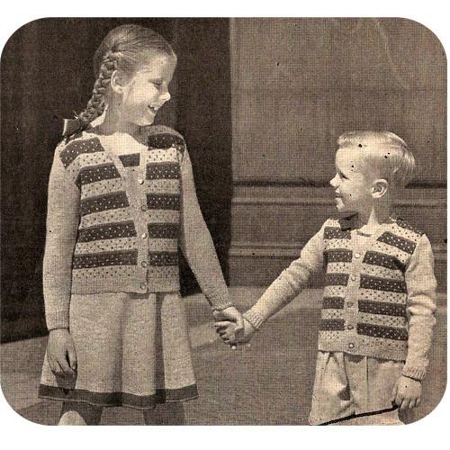 Child Striped Cardigan Knitting Pattern, Vintage 1940s