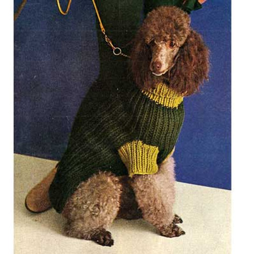 Bulky Knit Dog Coat Pattern, Vintage 1960s