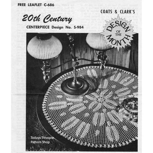 Coats Leaflet 686, Crocheted Centerpiece Doily Pattern