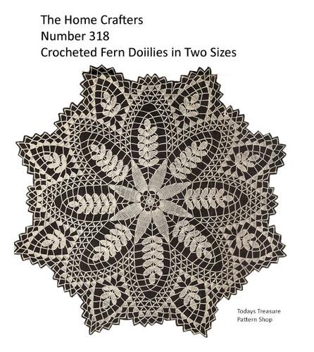 Vintage Fern Crocheted Doily Pattern, Homecrafters 318