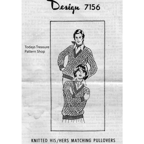 Knitted Pullovers Pattern, Mail Order Design 7156