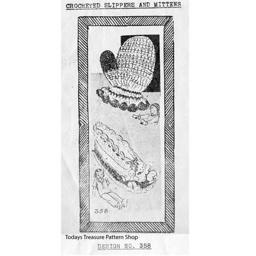 Design 358 Childs Slippers Mittens Crochet Pattern