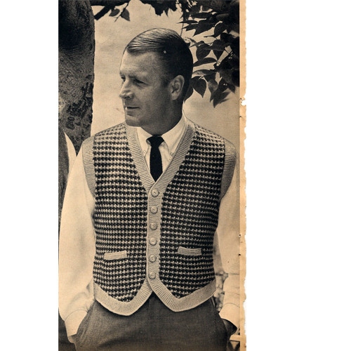 Mans Vintage Tweed Vest Pattern with Contrast Trim