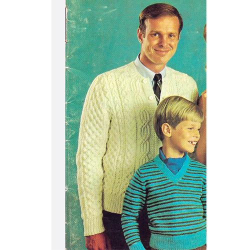 Mans Aran Knitted Cardigan Pattern, Vintage 1960s