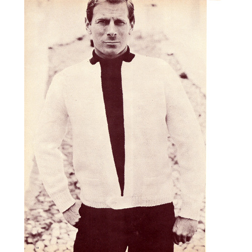 Mans Cardigan Knitting Pattern with Hip Button Closure