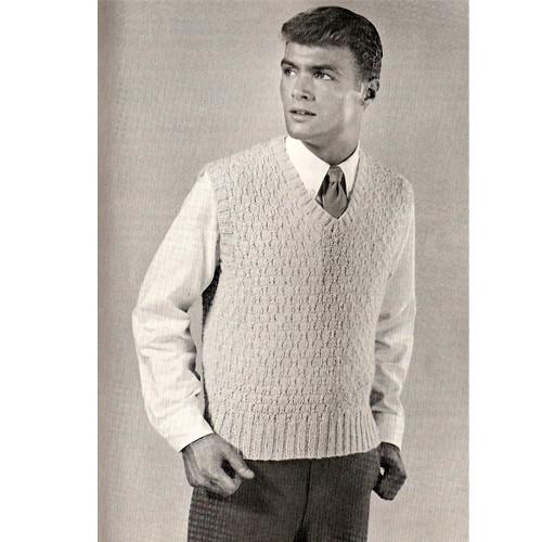 Knitted Mans Pullover Vest Pattern, Vintage 1960s