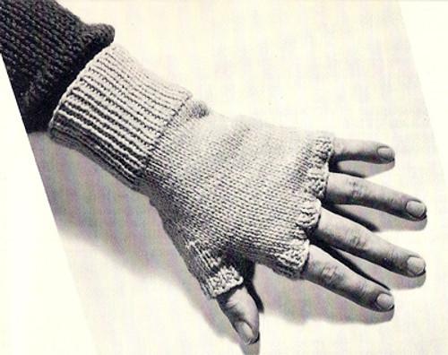 Knitting Pattern for Mans Fingerless Gloves, Vintage 1960s