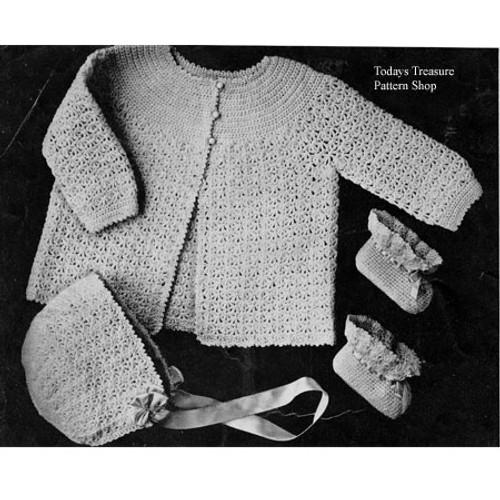 Crochet Baby Jacket Bonnet Pattern