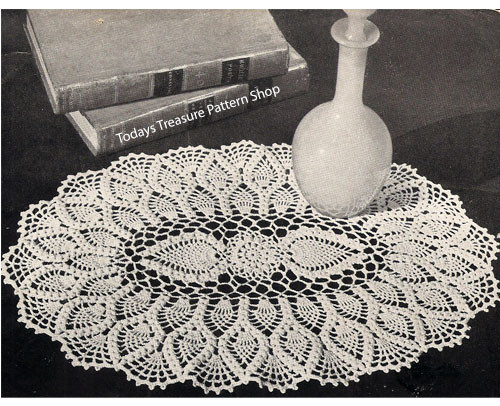 Large Oval Pineapple Doily Crochet Pattern