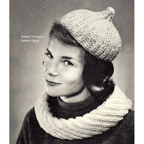 Knitted Cowl Collar & Cap Pattern