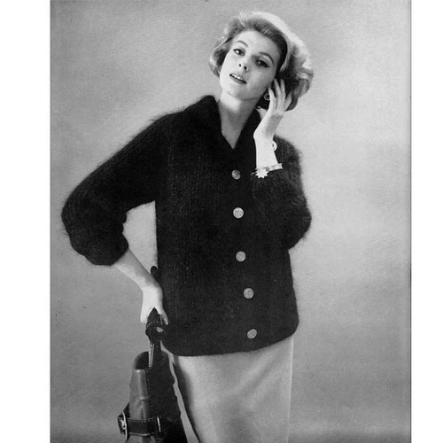 Mohair Knitted Cardigan Pattern, three quarter sleeves