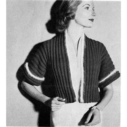 Easy Bolero Knitting Pattern, Vintage 1950s