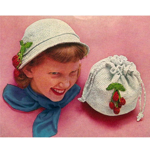 Girls Crocheted Cloche with Drawstring Bag