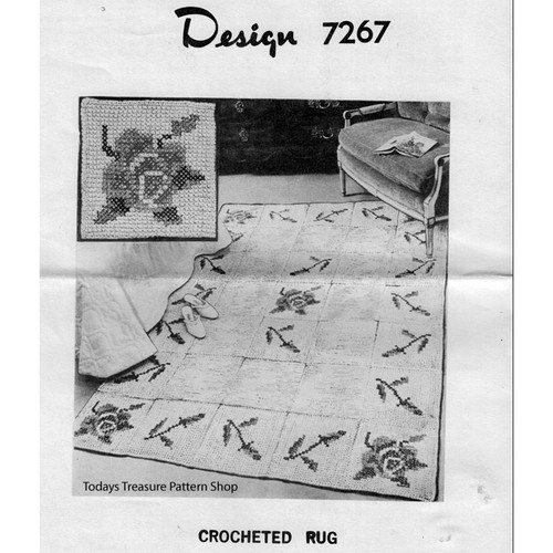 Mail Order Design 7267, Crochet Rug with Flower Embroidery