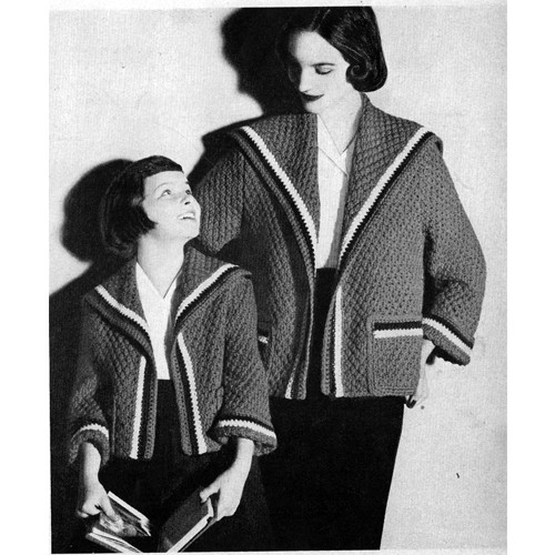 Knitted Sailor Collar Coat Pattern for Mother Daughter