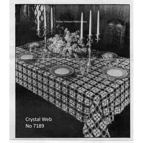 Crochet Tablecloth Pattern Leaflet 7189, Crystal Web