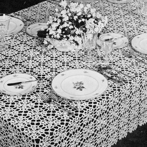 Vintage 1950s Crochet Tablecloth Pattern, True Love