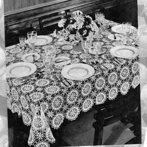 Crocheted Dance of the Flowers Medallion Tablecloth Pattern