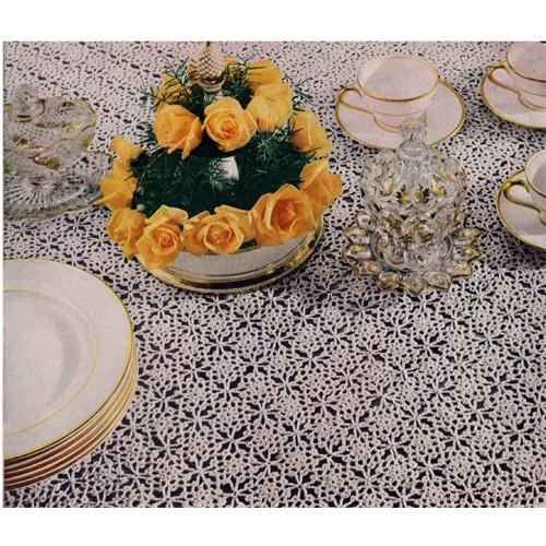 Gold Silver Spangled Motif Tablecloth Crochet Pattern