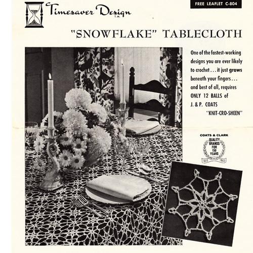 Vintage Snowflake Crochet Tablecloth Pattern, Leaflet 805