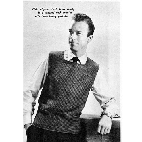 Mans Sleeveless Vest Crochet Pattern with Square Neck