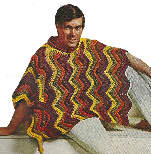 Crocheted Ripple Poncho Pattern, Unisex