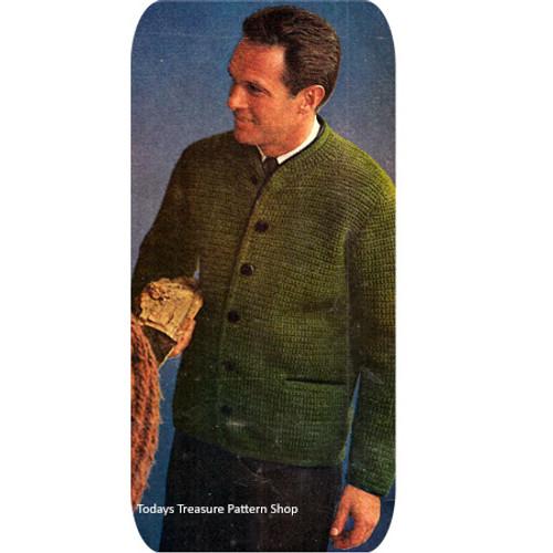 Vintage Crochet Cardigan pattern for Men