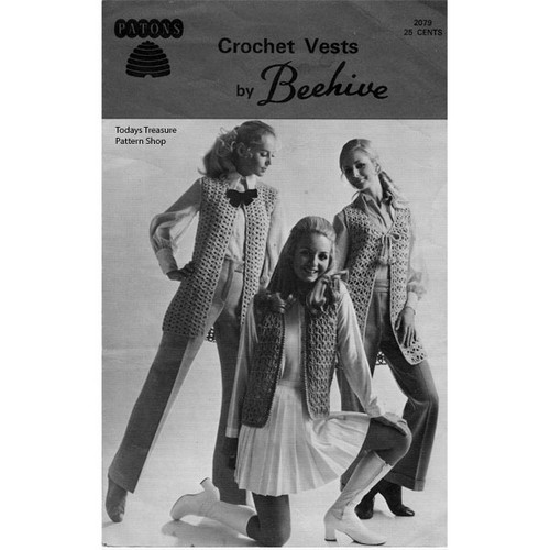 Three Crochet Vests Pattern