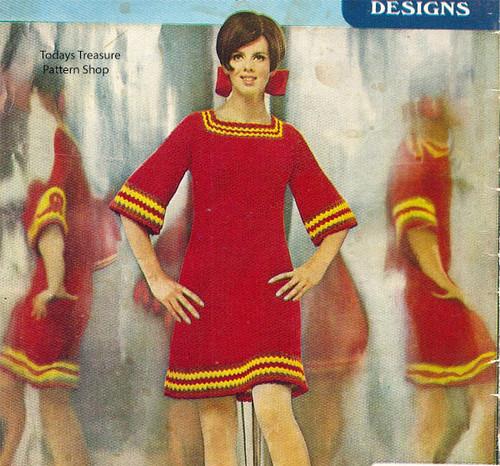 Vintage 1960s Crochet Dress Pattern