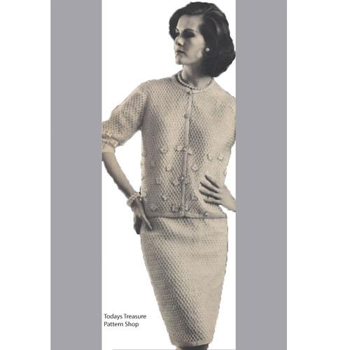 Vintage Crochet Suit Pattern, Cardigan & Skirt