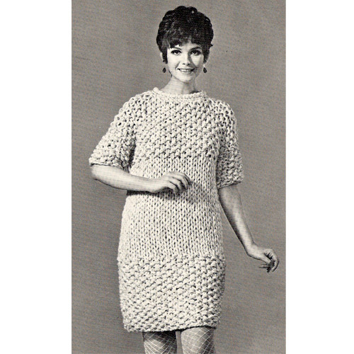 Knitted Moss Stitch Dress pattern with Short Sleevess
