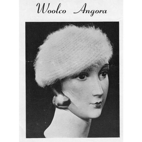 Angora Crochet Beret Pattern, Vintage 1950s