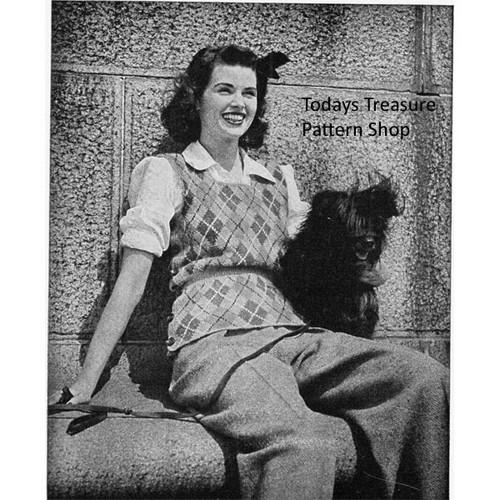 Argyle Pullover Vest Knitting Pattern