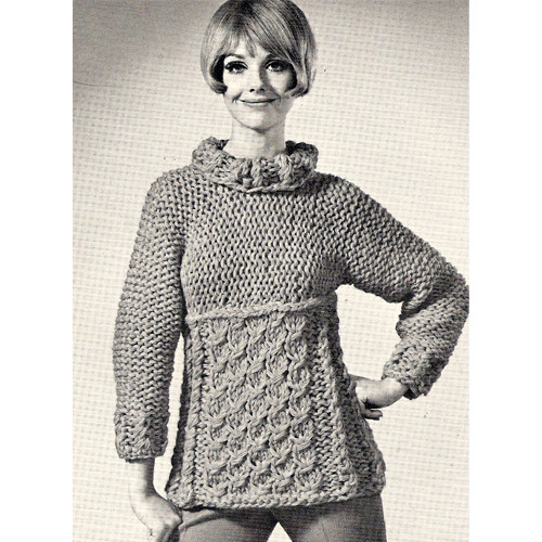 Vintage Knitted Pullover Blouse Pattern.