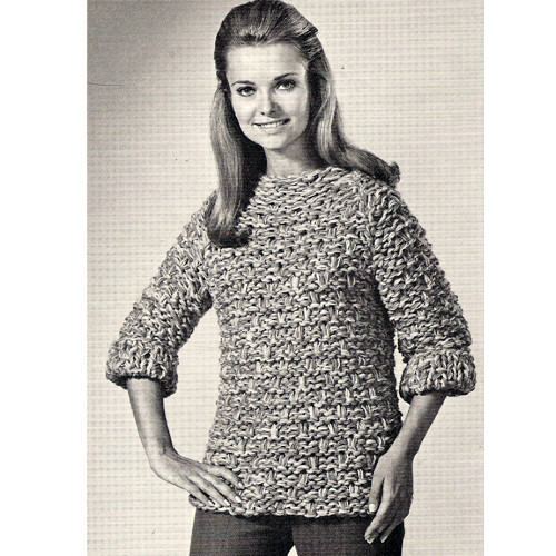 Big Needle Sweater Pattern, Vintage 1960s