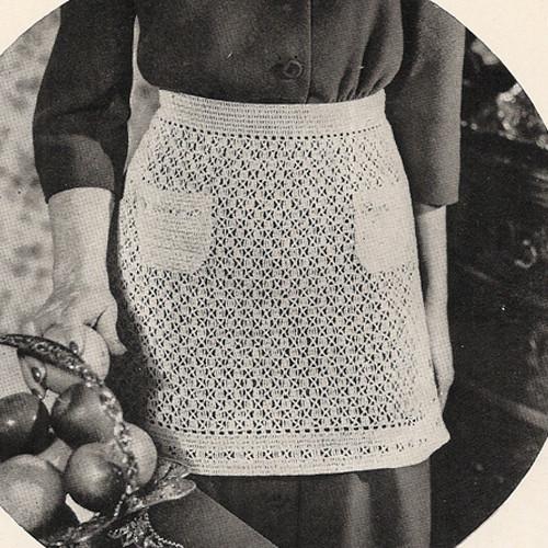 Lacy Crochet Apron Pattern, Vintage 1940s