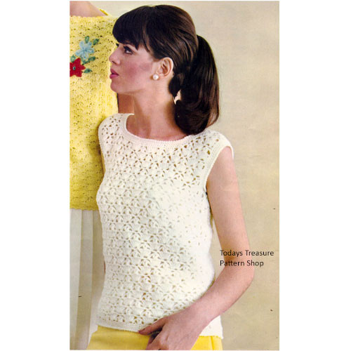 Crochet Sleeveless Top Pattern in Lacy Stitch