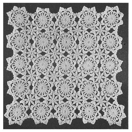 Vintage Flower Medallions Pattern, Daisy and Rose