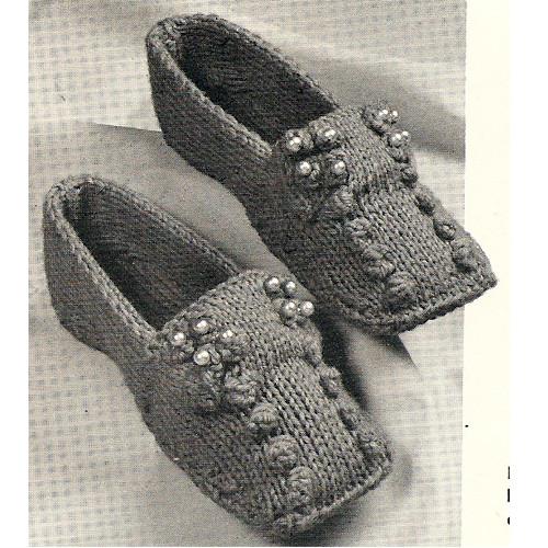 Knit Popcorn Stitch Slippers Pattern