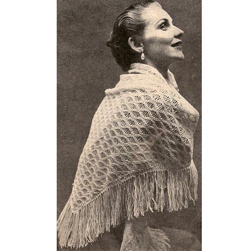 Knit Lacy Fringe Stole Pattern
