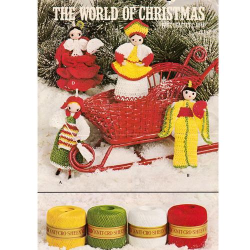 Christmas Crochet Dolls Pattern Coats Leaflet 1046