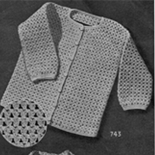 Vintage Baby Boy Crocheted Cardigan Pattern