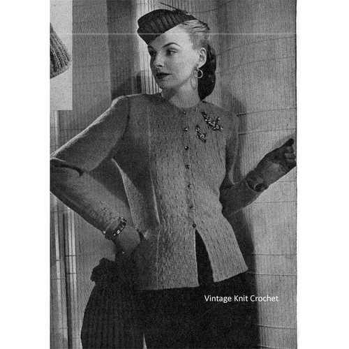 Vintage 1940's Semi-Fitted Cardigan Knitting Pattern