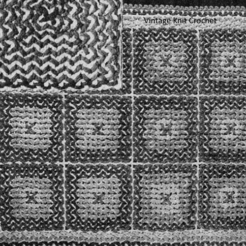 Crocheted Rug Pattern with Woven Lines