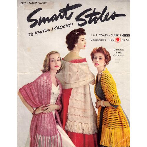 Easy Knit Stoles Pattern, Leaflet W-547, Coats Clark's