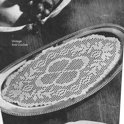 Filet Crocheted Oval Bread Tray Doily Pattern