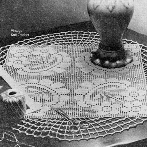 Filet Crochet Daisy Doily Pattern, Centerpiece